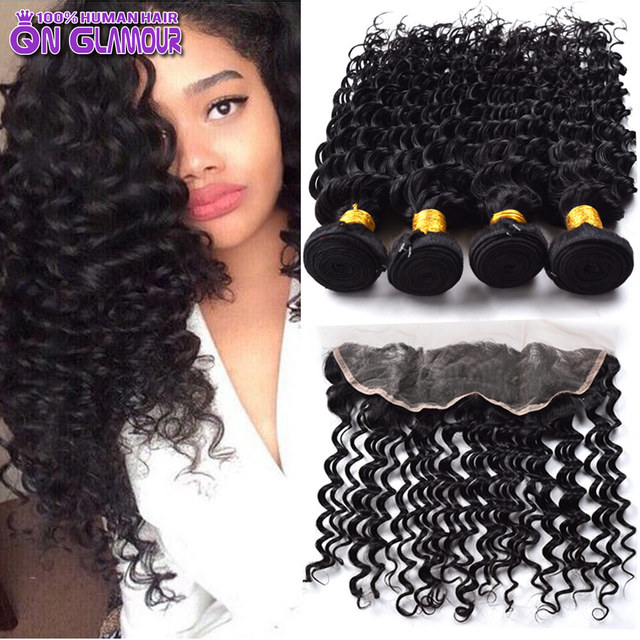 Wholesale 7A Brazilian Deep Wave Virgin Hair With Closure Ear To Ear Lace Frontal Closure With Bundles 3/4 Bundles With Closure