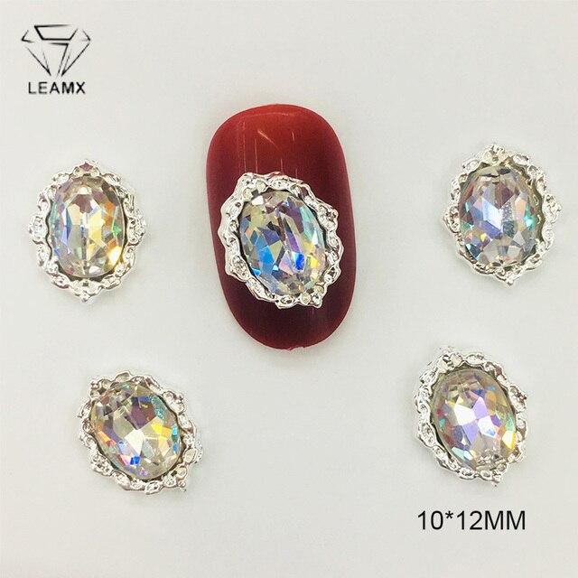 LEAMX, 10 Uds., corona de lazo, vidrio AB, Diamante de imitación, aleación manicura artística, adornos, brillo, abalorio, joyería para uñas en 3D, suministros para manicura DIY, L469