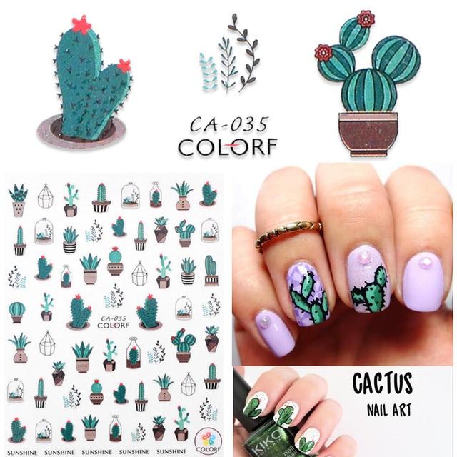 1 sheet Cactus Nail Stickers 3D Nail Art Green Prickly Cacti Designs ...