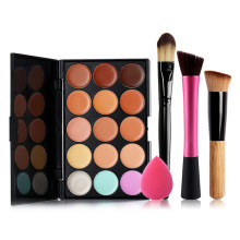 15 Colors Face Contour Concealer Makeup Palette Maquiagem Cream 3pcs Makeup Brushes Powder Foundation Sponge puff Cosmetic Tool