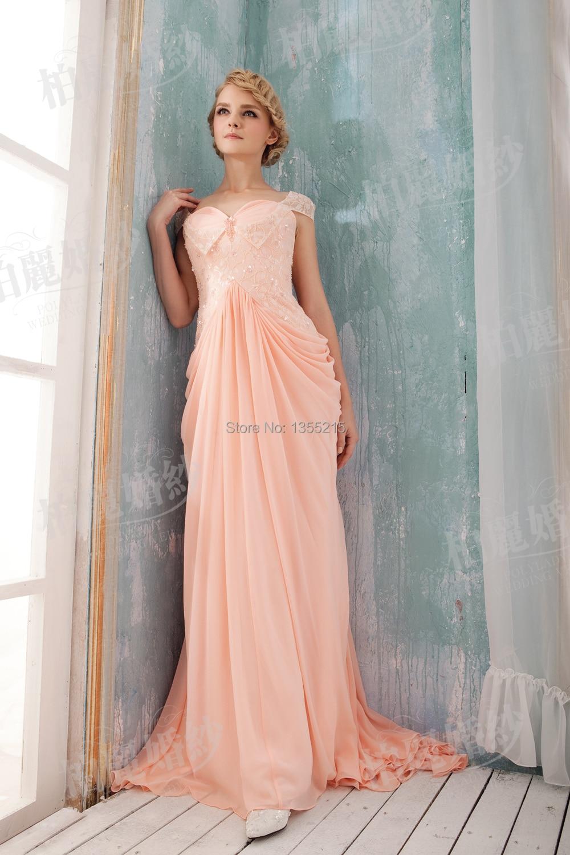 Vestidos elegantes largos rosados