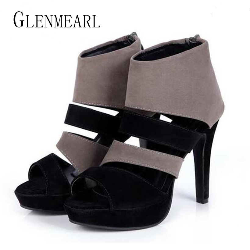 2017 Summer Sexy Women High-heel Sandals Shoes Zipper Fish Head Straps Platform Thin Heel Rome Pumps Black Sandals Females 30 2014 new designer black women fsahion zipper sandals pumps sotf suede leather shoes commodities trading platform cheap sandals
