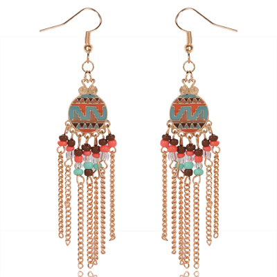 New Arrival Peacock Shape Long Tassel Drop Earrings