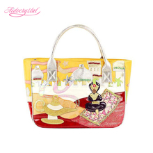 Aidocrystal 2016 New Fashion Women Cartoon Character Bag Handmade Embroidery Creative Bag PU Leather handbag for girls