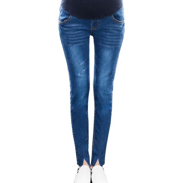 00c14a0267671 2018 Maternity Jeans For Pregnant Women Clothes Cotton Denim Pants  Pregnancy Prop Belly Jeans Abdominal Gravidas Trousers Pants