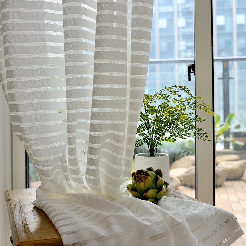 White Color Solid Striped Voile Window Sheer Curtains for Living room Bedroom Tiyana Tulle Drape Stripe Process WP135 30 in Curtains from Home Garden