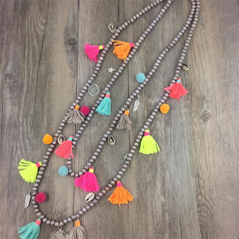 7e60f7375fe3 Online Shop Boho Colar Maxi Necklace 2018 Collares Etnicos Summer Style  Multi Layer Necklace Cotton Tassel Cord Handmade Jewelry