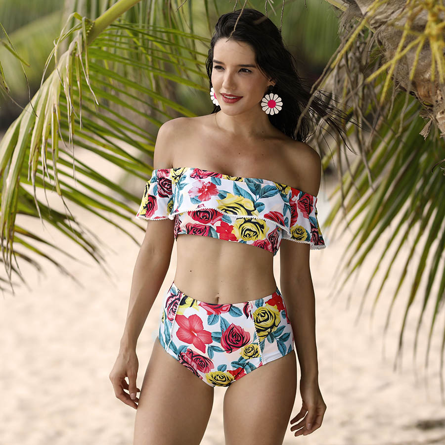 Plus Size Floral Print Off Shoulder Bikinis Women Swimwear Ruffled Bikini Set Lace High Waist Swimsuit Slash Neck Bathing Suits bohemian high waist floral print skirt for women