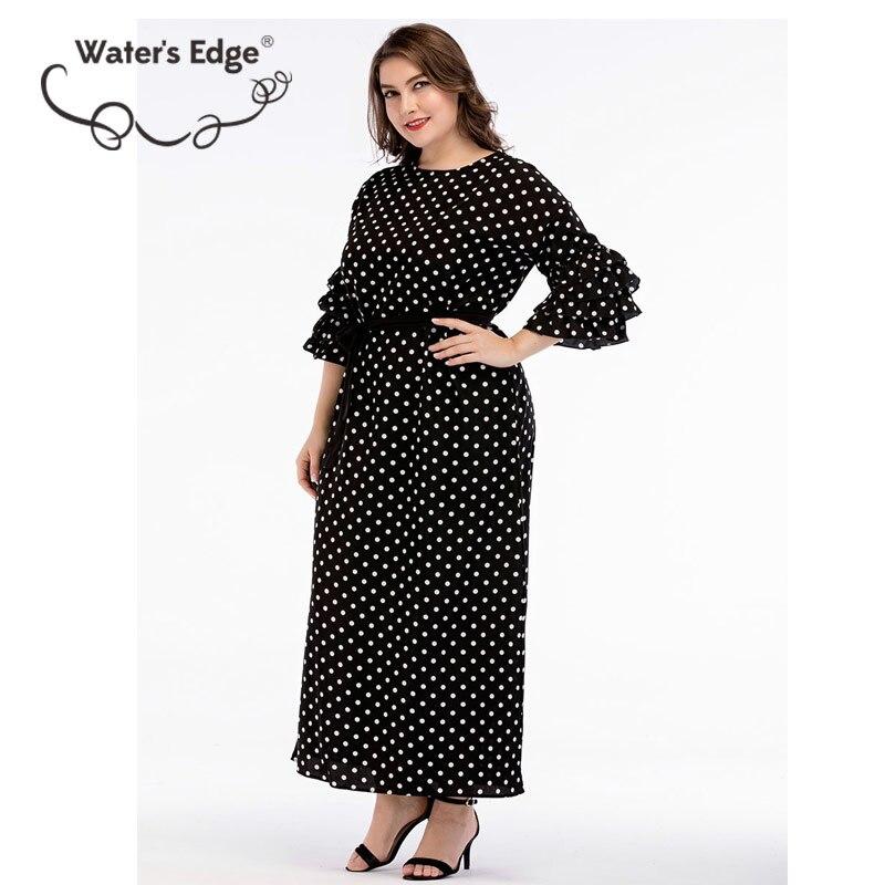 dc2ecaa366f Water s Edge 2018 Plus Size Women Dress Elegant Maxi Long Fashion Polka Dot  Dress Elegant Large Female Vestido 3XL Clothes Back-in Dresses from Women s  ...
