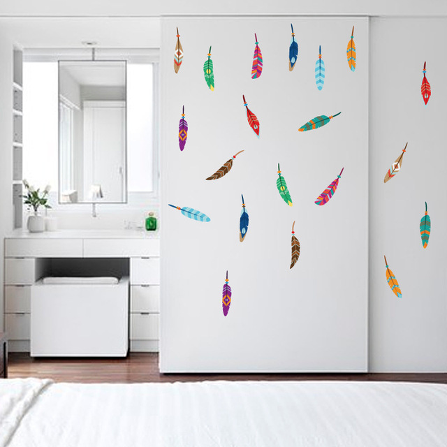 removable feather wall stickers colorful plumage korean dreamcatcher
