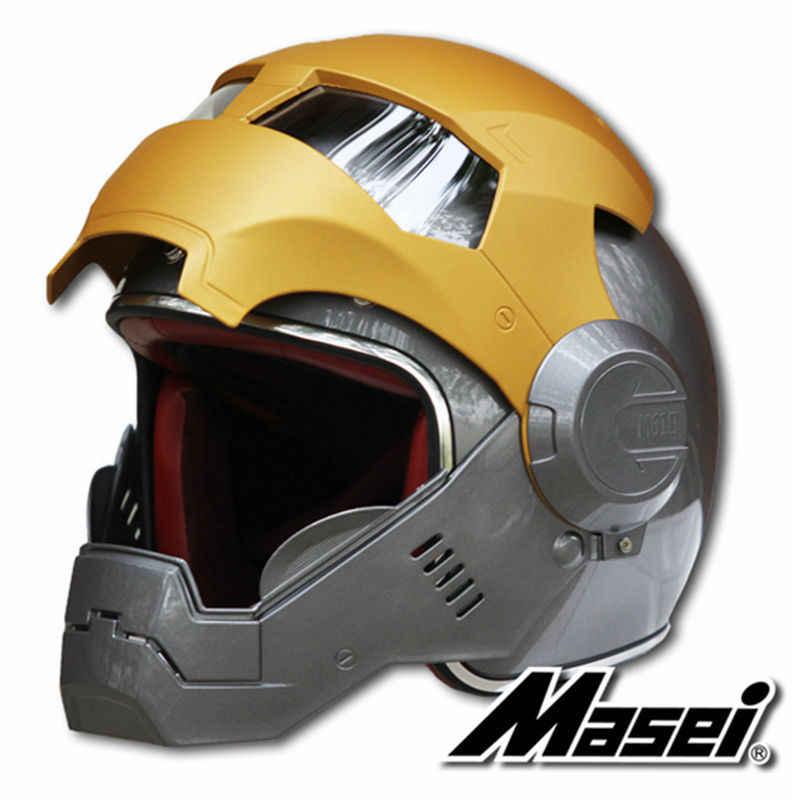 2016 новинка серый/Золотой MASEI IRONMAN железный человек шлем мотоциклетный шлем Мужские Женские полушлем с открытым лицом 610 ABS шлем для мотокросса