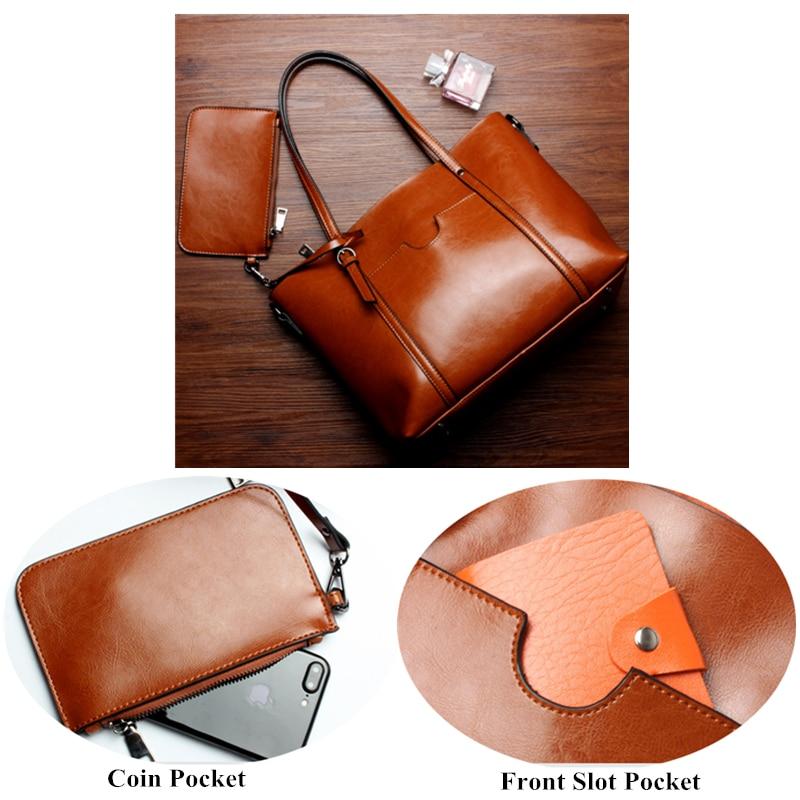 Burminsa 2 ชิ้น/เซ็ตใหญ่ผู้หญิงของแท้หนังกระเป๋าทำงาน Tote กระเป๋าสุภาพสตรีไหล่กระเป๋า Messenger หญิงกระเป๋า 2019-ใน กระเป๋าหูหิ้วด้านบน จาก สัมภาระและกระเป๋า บน   3
