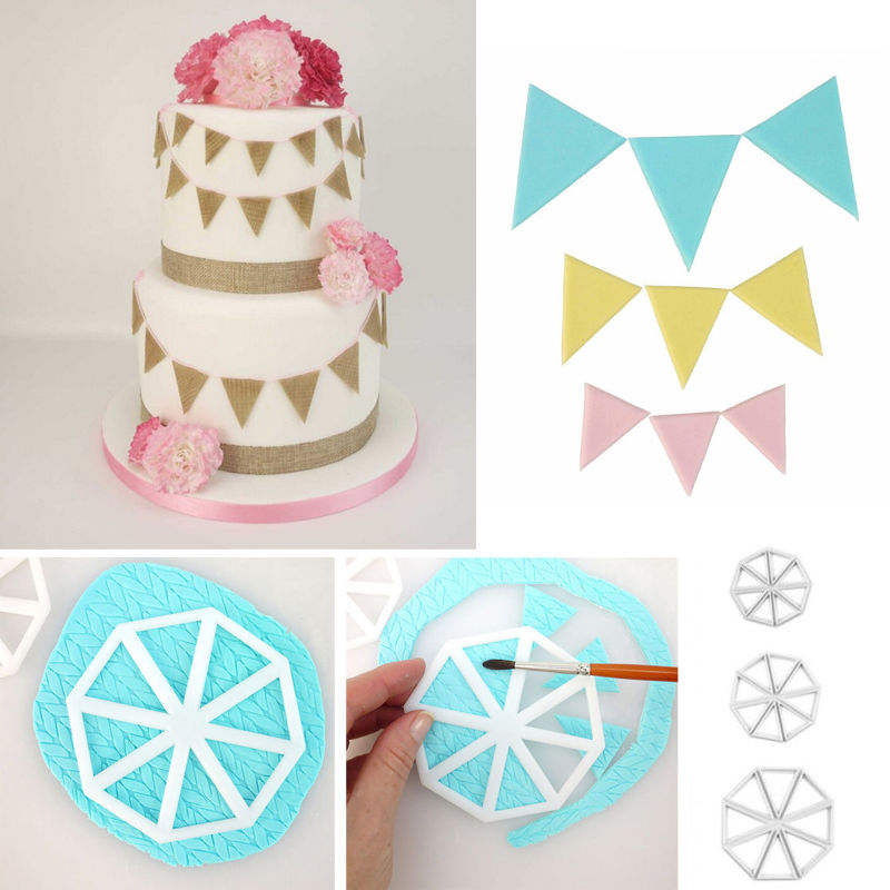 EASY BUNTING CUTTERS Icing Sugarcraft Cake Cupcake Decorating Set of 3