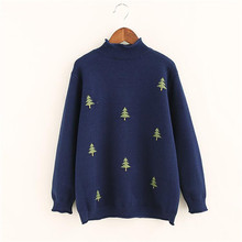 C23-Autumn & winter new color pure Christmas tree jacquard semi-high collar sweater sets of head care casual thin shirt sweater