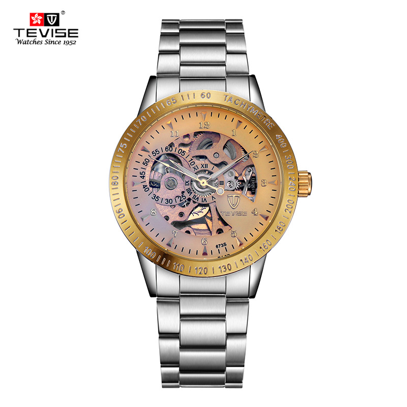 TEVISE New Men Automatic Mechanical Watches Top Brand Luxury Stainless Steel Watch Mens Sport Wrist Watch Male Reloj Hombre tevise men black stainless steel automatic mechanical watch luminous analog mens skeleton watches top brand luxury 9008g