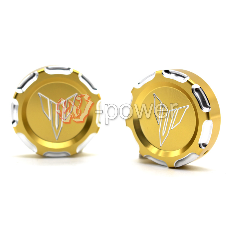 Подробнее о Free Shipping Motorcycle CNC Billet Aluminum Front Fork Cover Caps Gold For YAMAHA MT07 FZ07 MT-07 FZ-07 2014-2015 for yamaha mt07 fz07 mt 07 fz 07 2014 2015 motorcycle cnc billet aluminum front fork cover caps free shipping