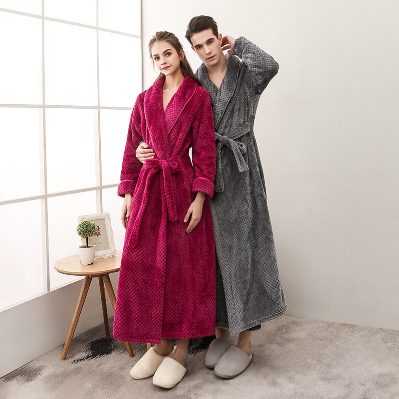 Bathrobe: 2018 Winter Long Bathrobe Couple Flannel Nightdress Women