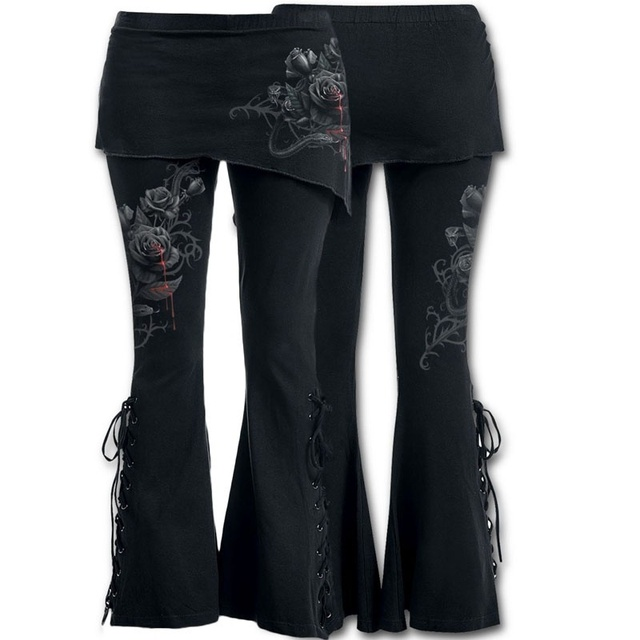 7f93ef03b9039 Women 2 in 1 Boot Cut Leggings with Micro Slant Skirt Gothic Punk Lace Up  Bell Bottom Leggings