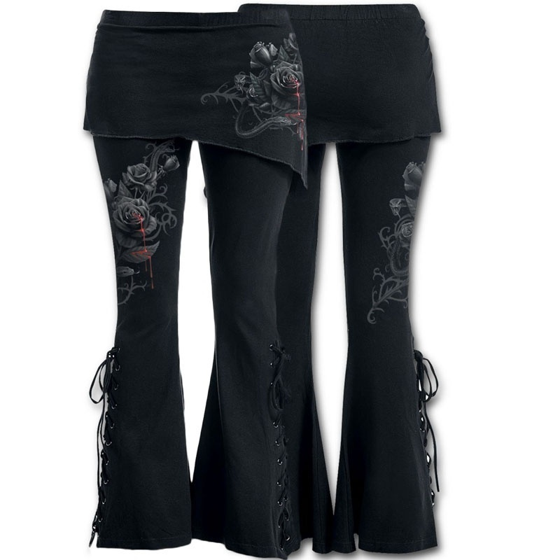 Women 2 in 1 Boot Cut Leggings with Micro Slant Skirt Gothic Punk Lace Up Bell Bottom Leggings