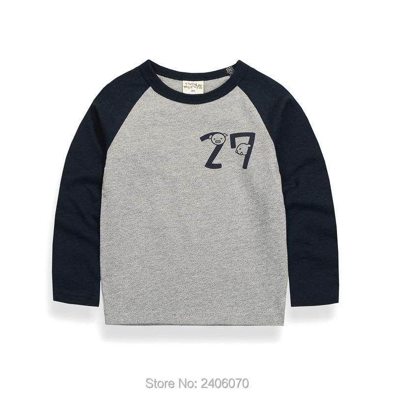 Для маленьких мальчиков Брендовая футболка Детская блузка реглан с манжетами Осенняя футболка для мальчиков и девочек Толстовка футболки ...