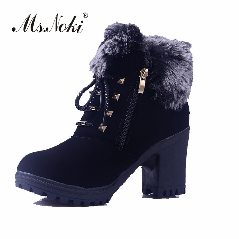 Ms.Noki Zip Hot Sale Shoes Women Boots Soft Cute Women Snow Boots Round Toe Flat with Winter Fur Ankle Boots hot sale shoes women boots genuine leather women snow boots round toe flat with winter fur ankle boots cotton shoes k514