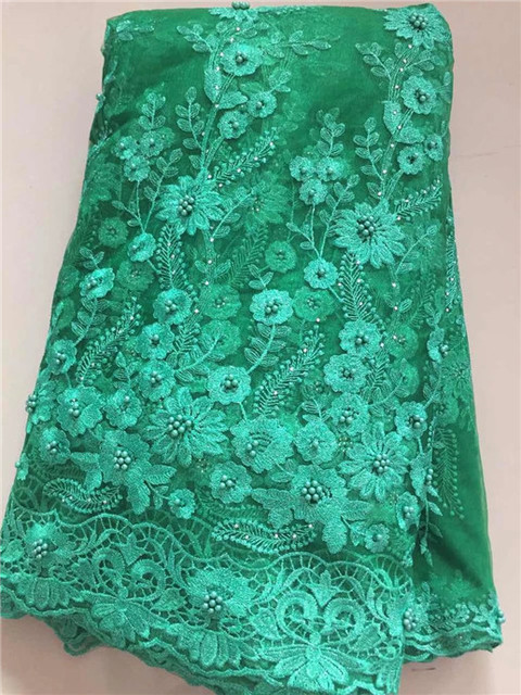 Rhinestones French African Mesh Lace Fabric With beads In green Indian  Guipure Net Lace Flower Embroidered c1a041ee38f0