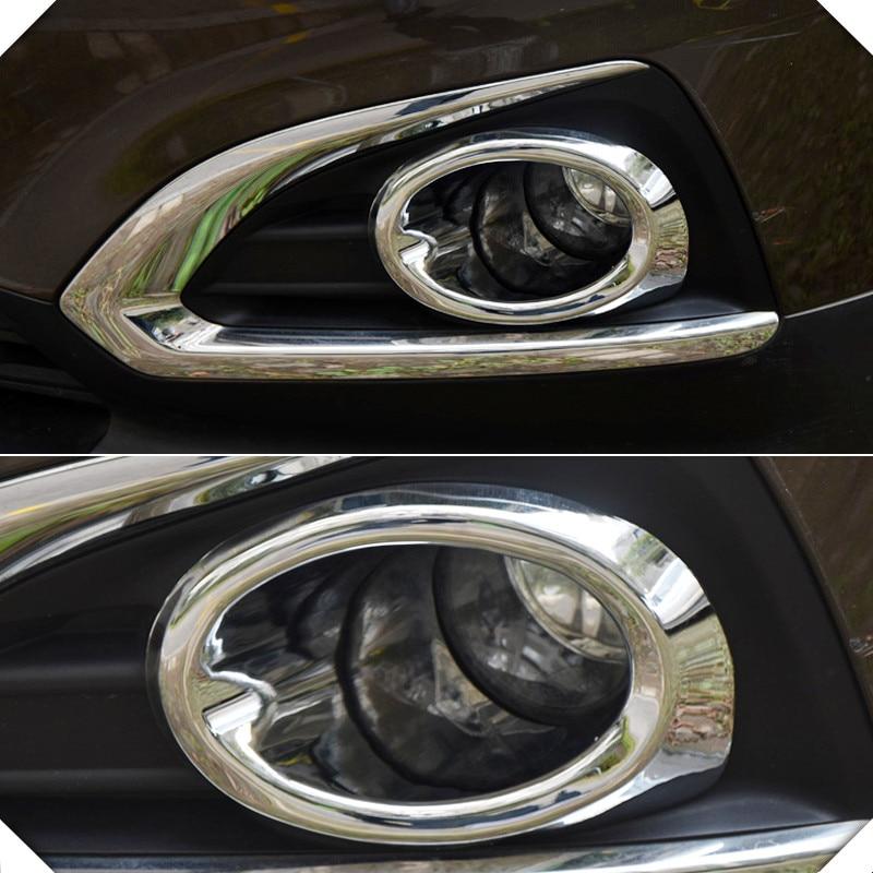 2013 2015 For Peugeot 3008 2pcs set ABS Chrome Front Fog Light Ring Cover Trim font