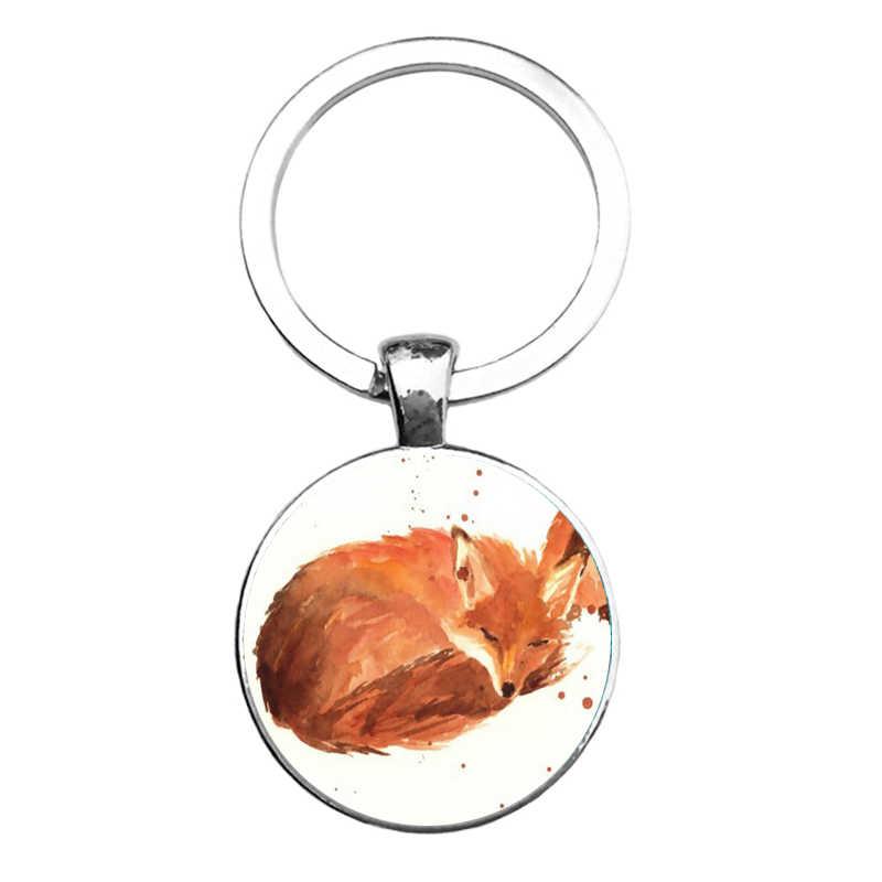 Suteyi 2017 charme dos homens bonito raposa fotos chaveiro feminino saco pingente chave do carro moda anel pingente saco charme jóias 2017