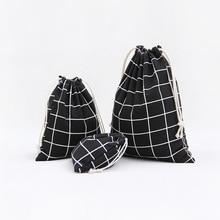 1pcs Men Black Plaids Pattern Drawstring Cotton Linen Travel Shaver Sunglass Storage Bag Underwear Organizer Coins