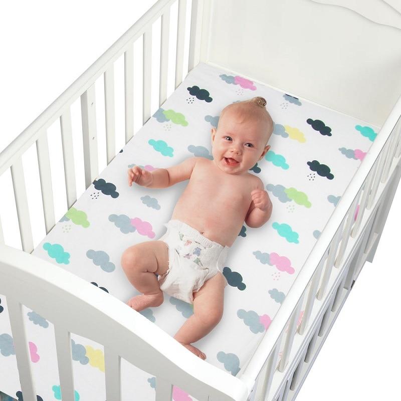 100% Katoen Wieg Hoeslaken Zachte Baby Bed Matras Cover Protector Cartoon Pasgeboren Beddengoed Voor Ledikant Size 130*70 Cm