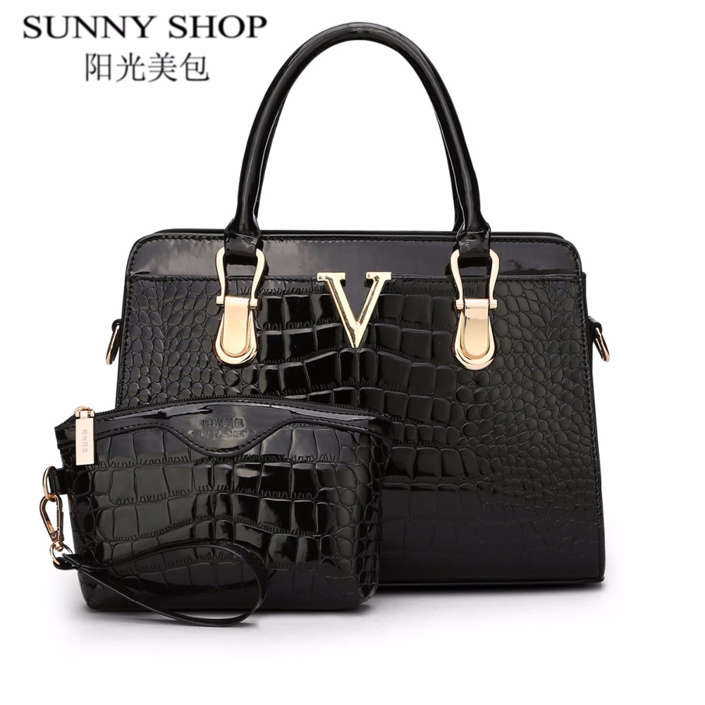 ФОТО SUNNY SHOP 2017 luxury handbags women bags designer crocodile high quality leather bags handbags women famous brand shoulder bag