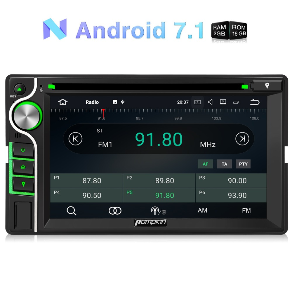 Pumpkin 2 Din 6.2''Android 7.1 Universal Car DVD Player GPS Navigation Quad-core Car Stereo FM Rds Radio Wifi DAB+ 3G Headunit android 8 0 2 din 7 universal car radio no dvd player gps navigation 4gb ram car stereo fm rds wifi 4g dab headunit