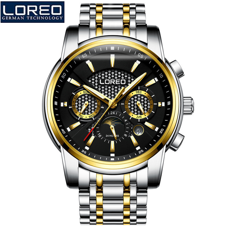 LOREO Mens Business Watches Relogio Masculino Fashion Watch Men Flywheel Auto Mechanical Stainless Steel Wristwatch Gift O46