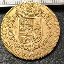 1725 Испания 4 Escudos-Felipe V Cuenca Золотая копия монеты