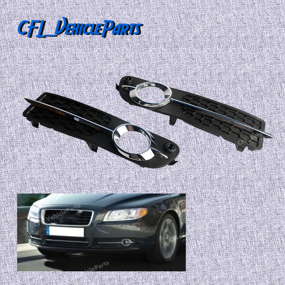 Pair Front LH RH Bumper Fog Light Cover Black with Chrome Moulding Trim 30790919 30790920 For