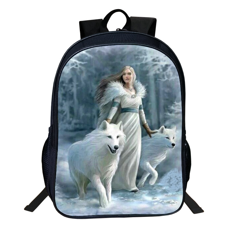 2017 Hot Oxford 16-inches Printing Animal 3d Goddess And Wolf Kids School Bag For Tennagers Girls Backpack For Children Book Bag