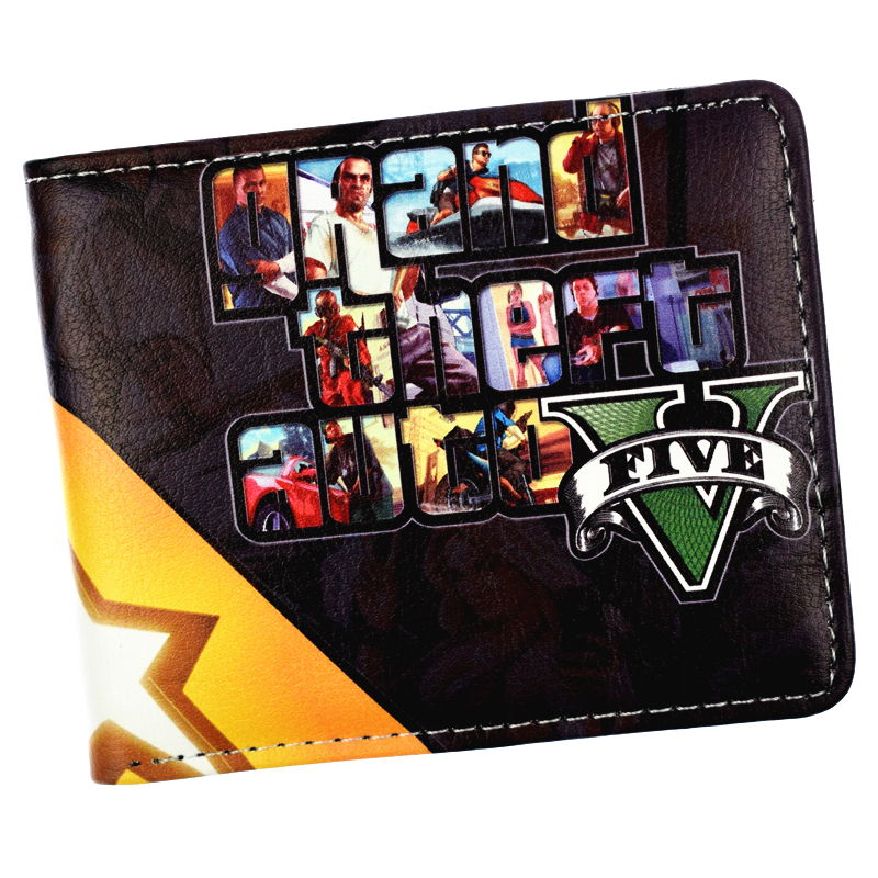Game Grand Theft Auto V Wallet With Coin Pocket Men's Bi-Fold Purse