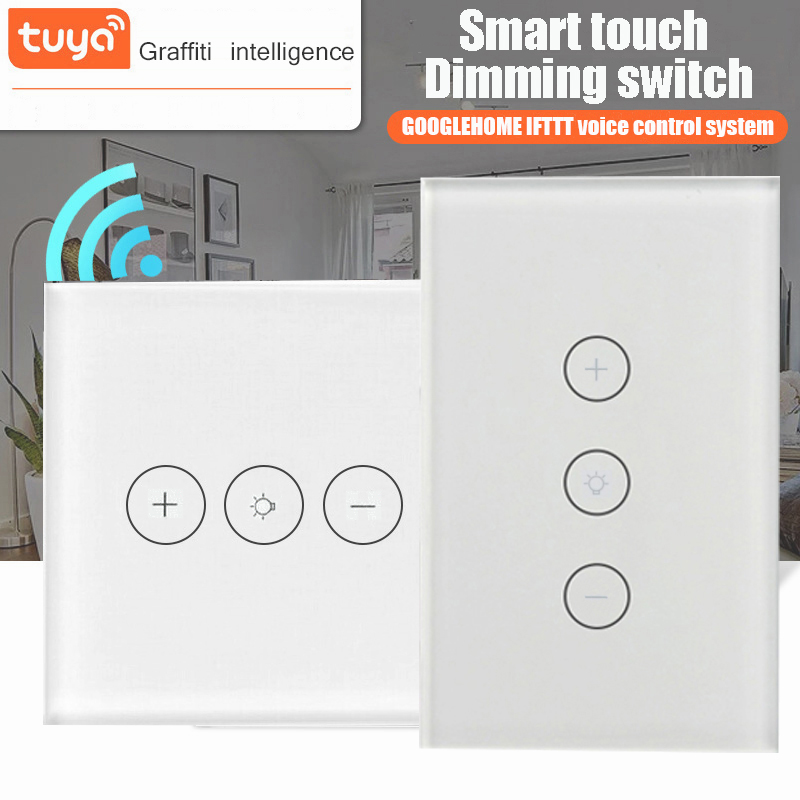 Smart Dimmable Touch Switch Wifi Wireless Remote Control Panel Dimming Switch Works With Alexa Google Home Assistant Tuya App