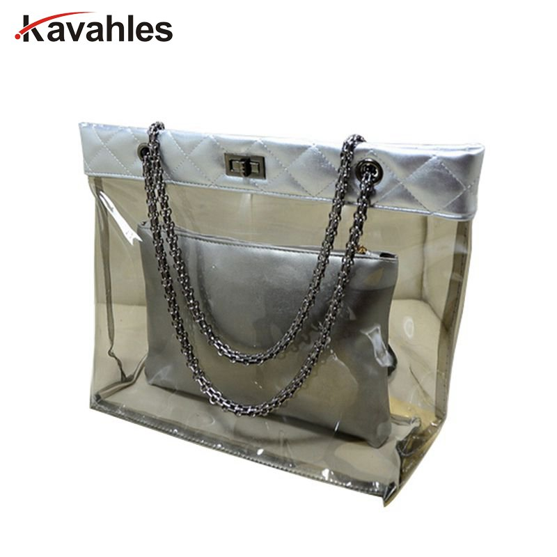цена на Transparent Tote Bag Women's Handbag Crystal Large Beach Bags Candy Color Jelly Bags Waterproof Big Shoulder Summer Bags F40-825