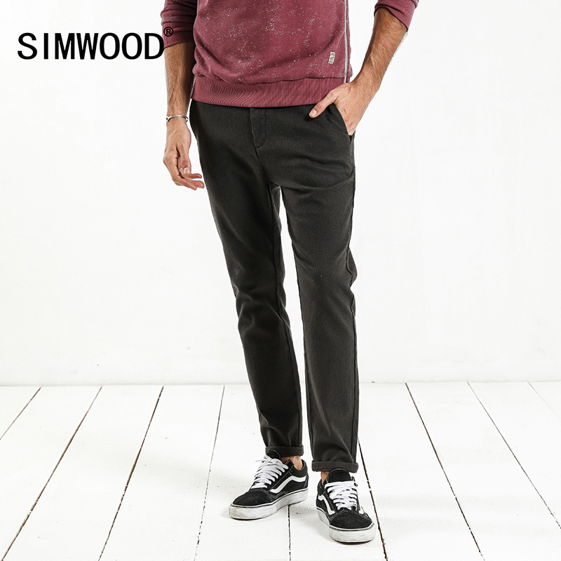 SIMWOOD 2019 Spring New Casual Pants Men Skinny Slim Fit Plus Size High Quality Plus Size Brand Clothing XC017048