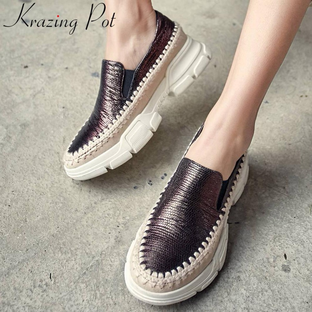 Krazing Pot luxury sheep leather med bottom round toe slip on loafers platform round toe straw