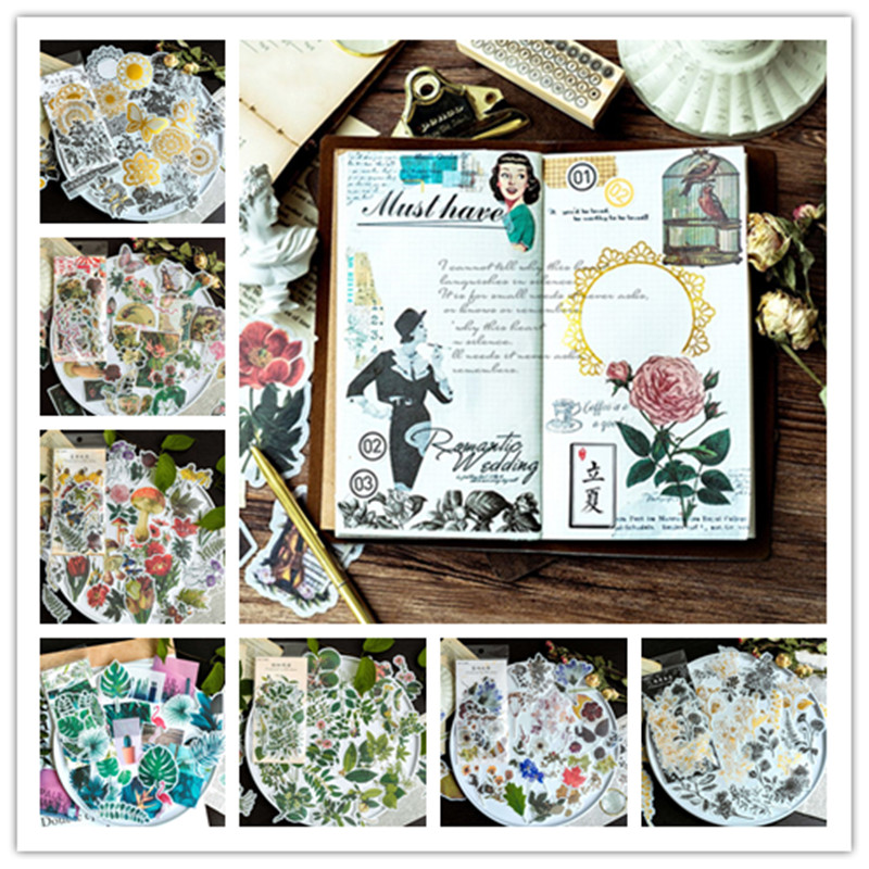 60 Pcs 5-10cm Stickers Decorative Vintage Journal Diary Gold Skull Paper Flower Plant Stickers Scrapbooking Flakes Stationery