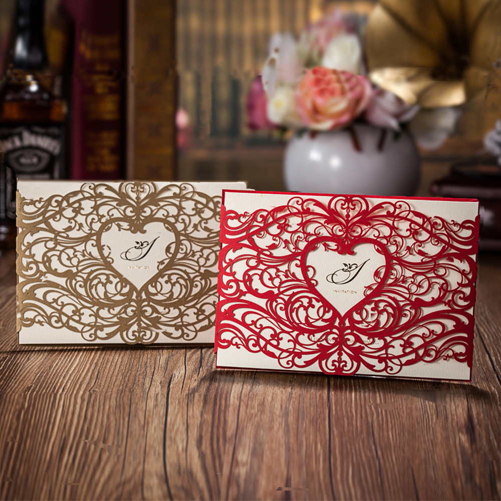 25pcs Heart Style Laser Cut Wedding Invitation Cards Red Or Gold Invitations Cards Customizalbe