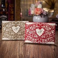 25 шт. сердце Стиль лазерная резка свадебные Приглашения, красный или золотой Приглашения карты, customizalbe