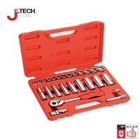 Jetech 26pcs inch 3/8 drive deep standard pro socket sets kit mechanics tools set torque wrench 3/8 socket adapter tool box