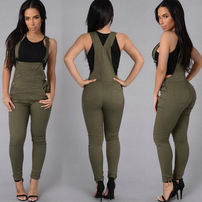 Women Denim Jumpsuit High Waisted Stretchy Romper Jeans Button Pocket Bodycon Long Pants One Piece Jeans Sexy Denim Overalls