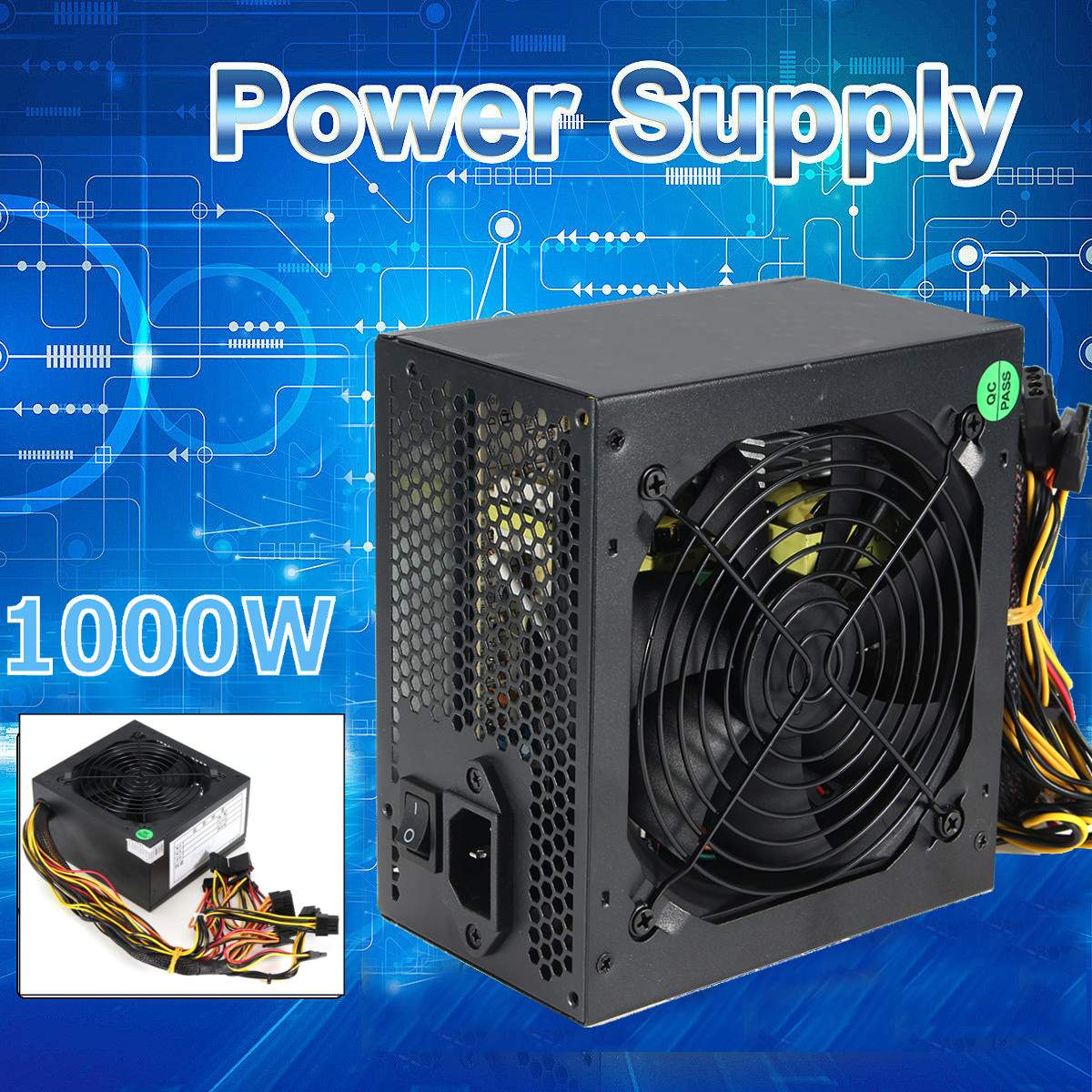 1000W Power Supply 120mm Fan Active PFC 80  Efficient 2-PCIE LED Fan Gaming ATX PC Power Supply1000W Power Supply 120mm Fan Active PFC 80  Efficient 2-PCIE LED Fan Gaming ATX PC Power Supply