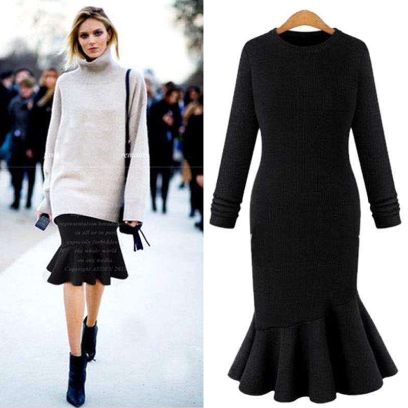 Ordifree 2017 Autumn Winter Women Knitted Dress Plus Size Knee Length Office Midi Dress Black Grey Ruffle Bodycon Mermaid Dress