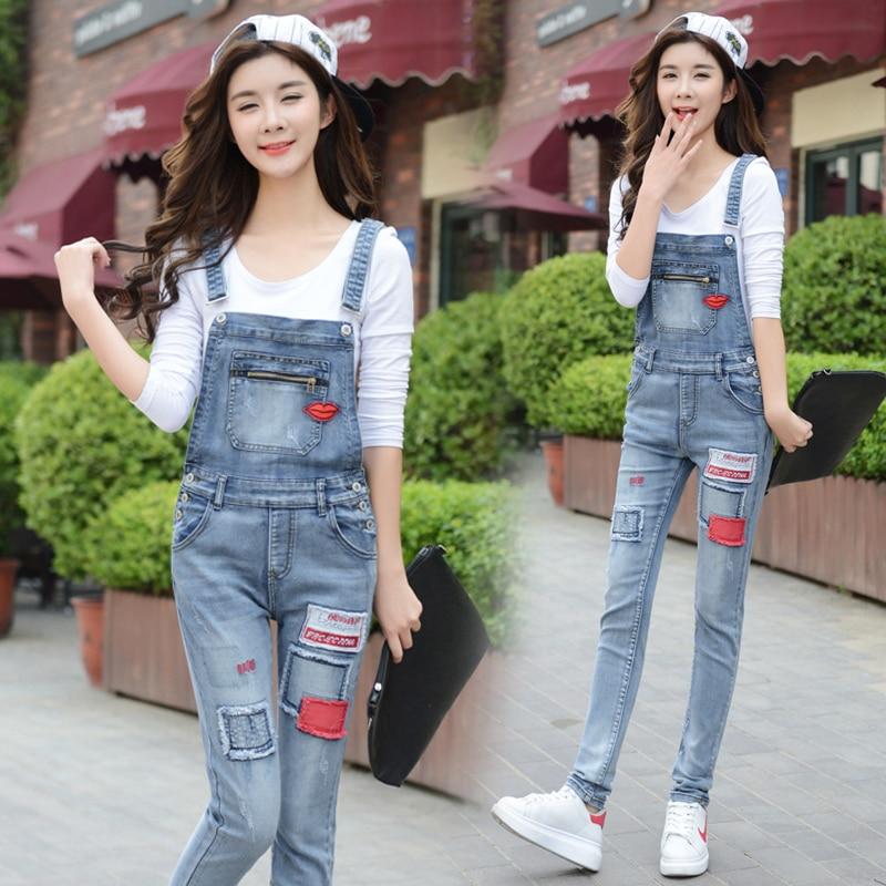 ФОТО plus size denim jeans panty women spring autumn winter 2016 feminina elastic hole patch strap denim pants female students A1495