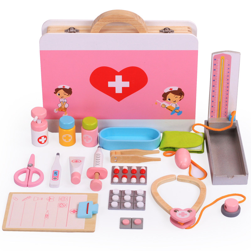 Wooden Toys Kids Funny Toys Doctor Play Sets Simulation Medicine Box Pretent Doctor Toys Stethoscope Injections Children Gifts image